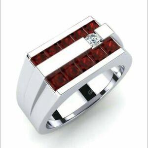 14k White Gold Natural Faceted Ruby Diamond Mens Wedding Ring 24587 Ebay