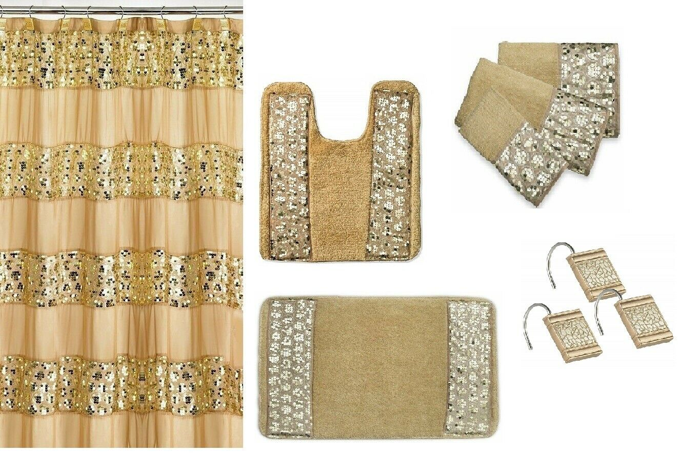 7 Piece Sinatra Gold Shower Curtain, Resin Shower Hooks, 2 Rugs and Towel Set