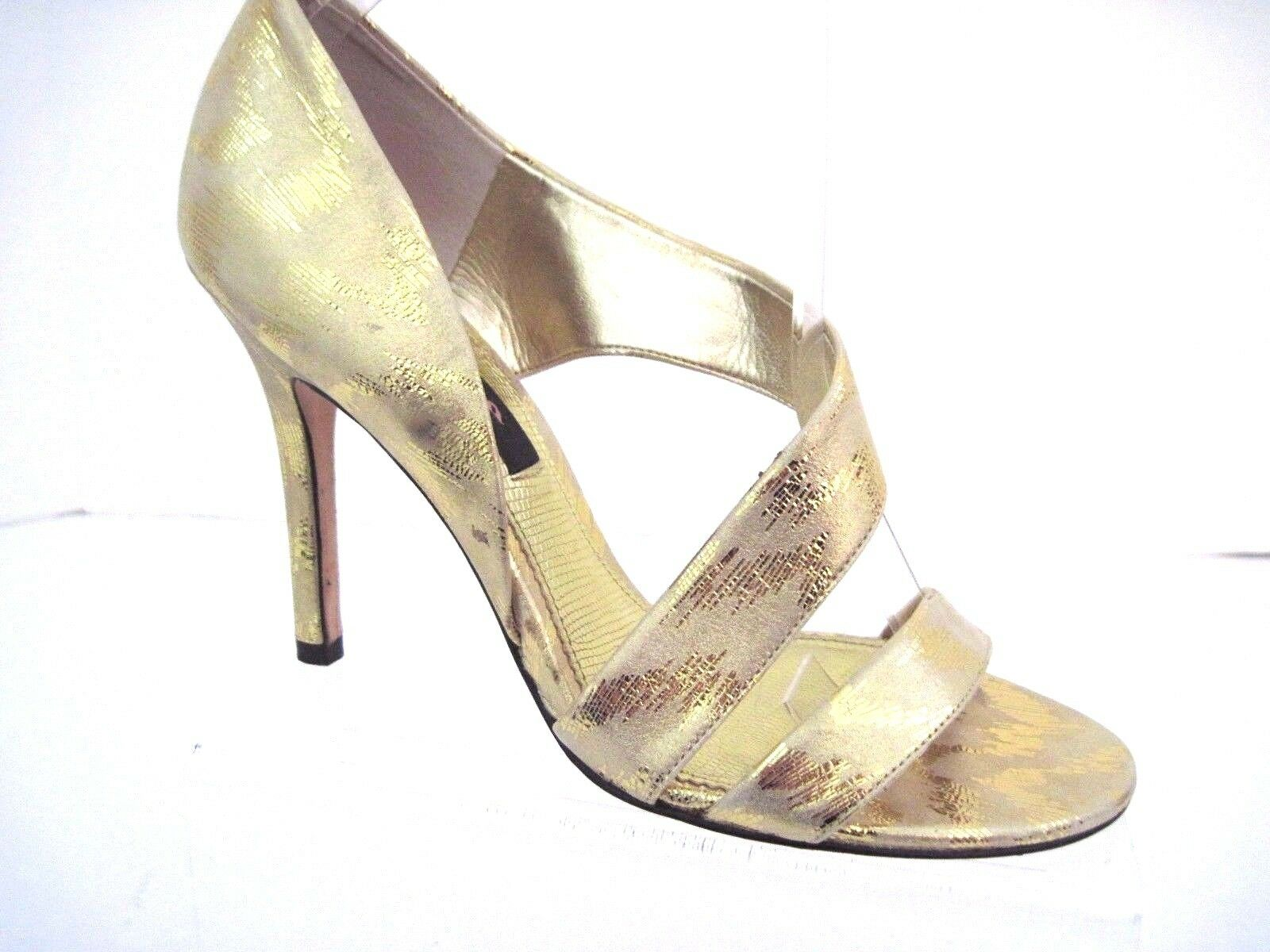 NINA New York Meatllic Champagne Gold Leather Open Toe Heels Size 8 M