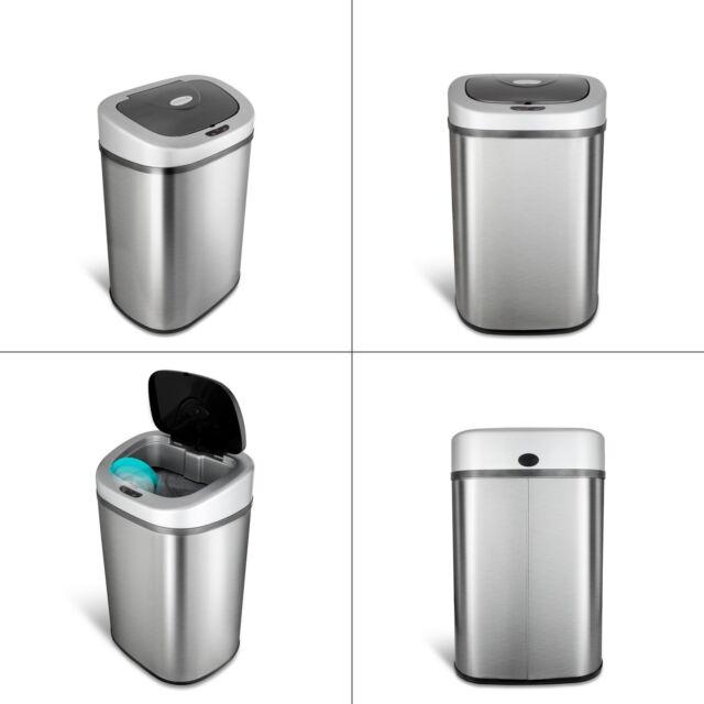 Kitchen Motion Sensor Trash Can Touchless Stainless Steel Garbage Bin 21  Gallon
