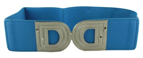 New Ladies Tan Brown Blue D Buckle Wide Elasticated Stretch One Size Belts
