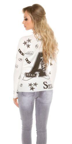 Pullover Strick Pulli Sweater mit Print und Nieten