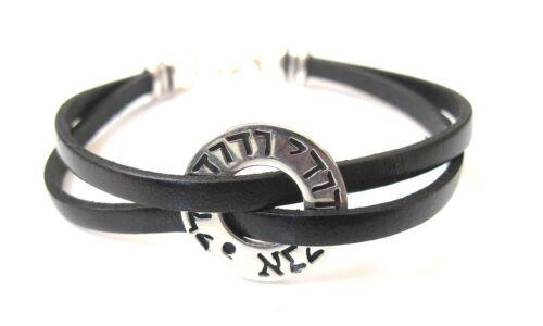 men silver leather bangle bracelet i am beloved ani le dodi talisman artisan new