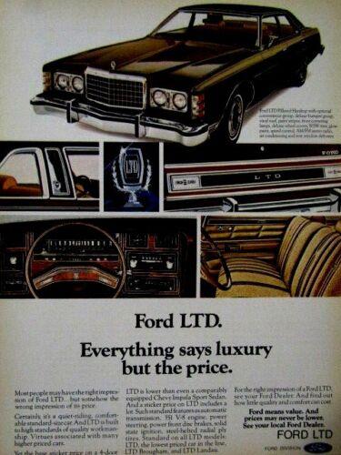 "1976 Ford LTD Every Thing Says Luxury Original Print Ad 8.5 x 10.5/"""
