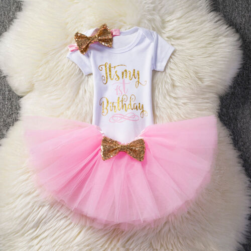 1 Jahre Toddler Baby Geburtstag Party Romper Tutu Tulle Rock Kleid Outfit Set