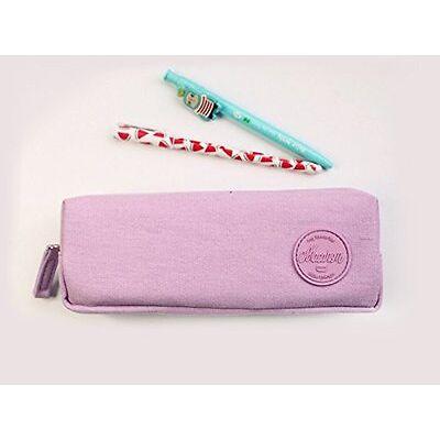 Trousse à crayons, trousse scolaire ou trousse maquillage série Macaron (Violet)