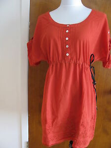 4604f3ab2c9 Max Studio women's red cotton embroidered detailed tunic dress large ...