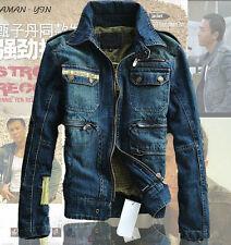 autumn Retro mens moto boys Military biker wahsed denim suit jacket coat