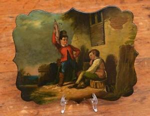 English papier mache fan plaque Lot 1251