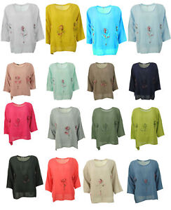 Womens-Italian-Textured-Linen-3D-Embellished-Tulip-Floral-Tunic-Ladies-Crop-Top