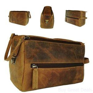 04d1f7279c Image is loading Handmade-Buffalo-Genuine-Leather-Toiletry-Bag-Dopp-Kit-