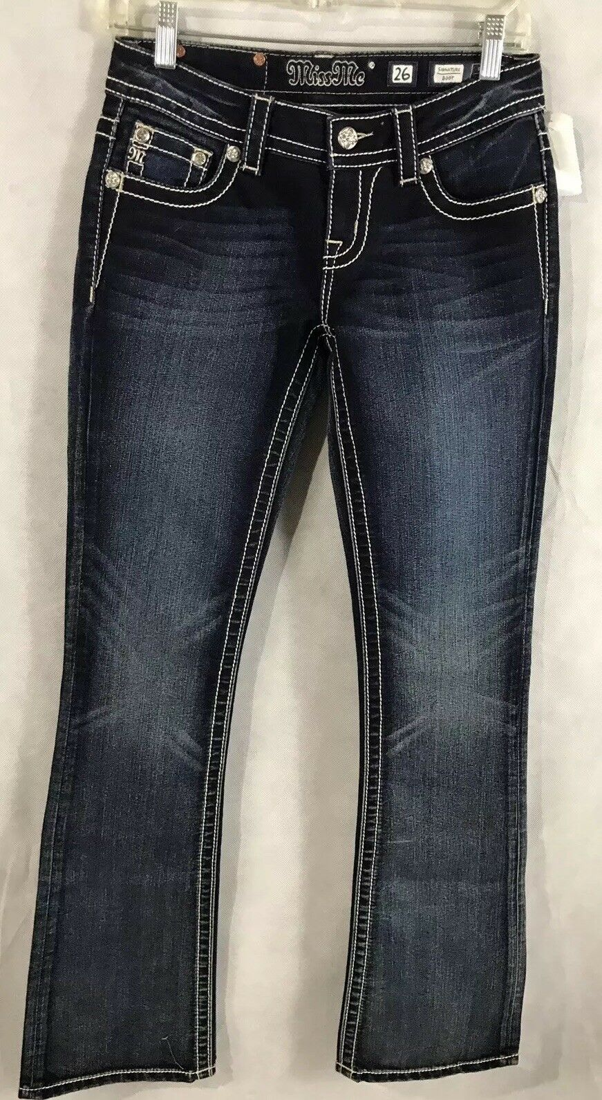 Miss Me NEW Signature Boot Cut Jeans 26 Dark Wash Low Rise Stretch Inseam 33