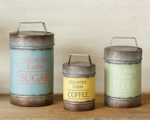 Details About Rustic Metal Country Farm Kitchen Canisters Flour Sugar Coffee Set 3 Farmhouse