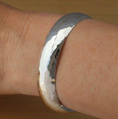 Solid 925 Sterling Silver Hammered Cuff Bangle Bracelet 19mm Wide UK Hallmarked