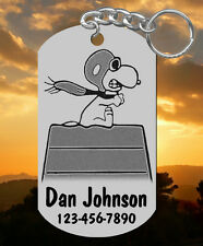 SNOOPY Red Baron Keychain or Kids Backpack ID Bag Tag, Personalized FREE