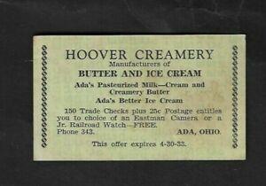 1933 Ada,OH - Hoover Creamery United Trade Check