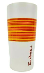 Tim Hortons Tumbler Travel Mug + Lid 2015 Limited Edition White Orange Striped