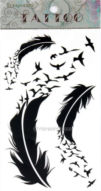 Feather Unisex Gothic Removable Waterproof Temporary Tattoo Body Art Stickers
