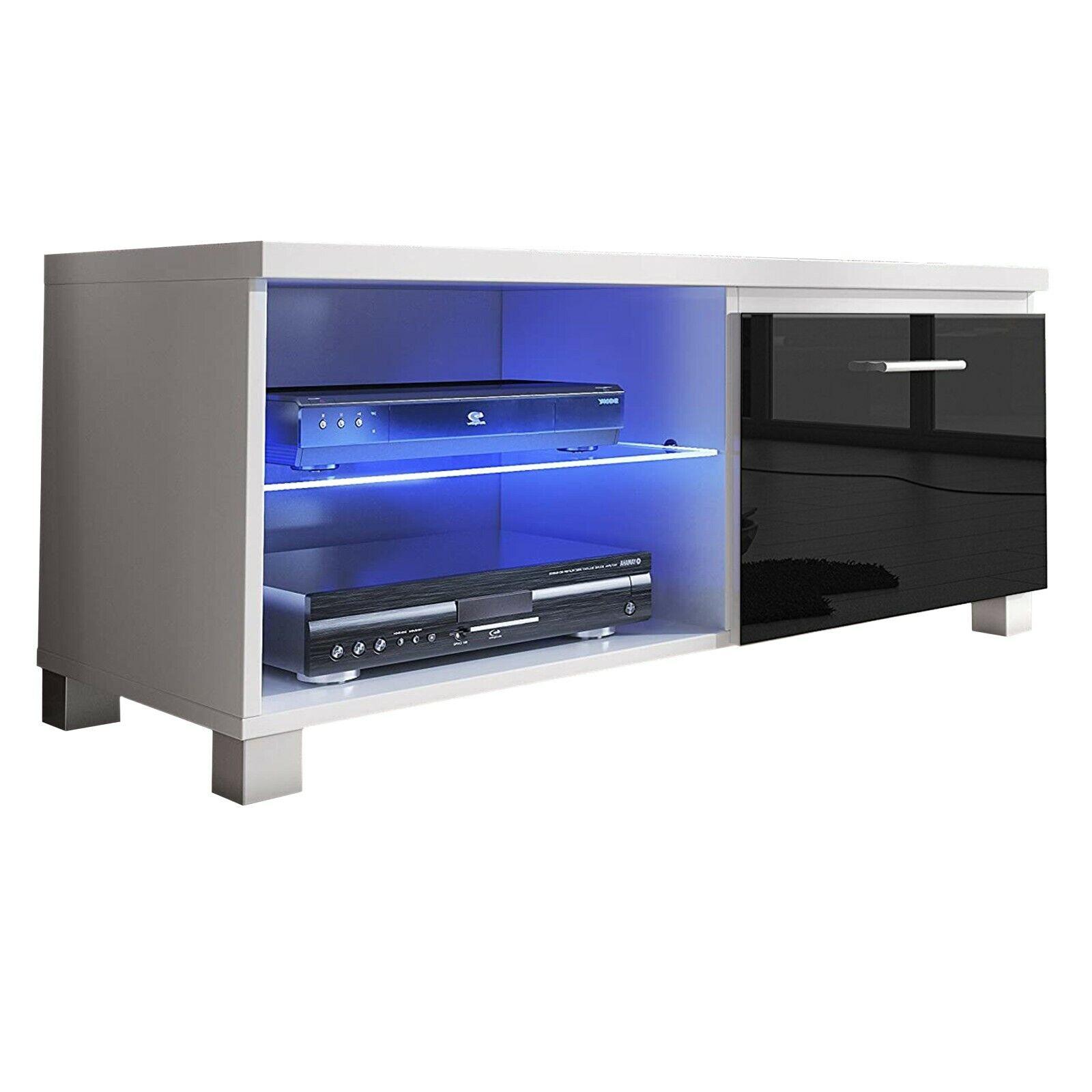Módulo salón comedor TV, modulo con Leds, color Blanco y Negro Lacado...