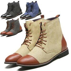 Men-039-s-Split-Leather-Classic-Formal-Ankle-Boots-Combat-Chelsea-Martin-Work-Shoes