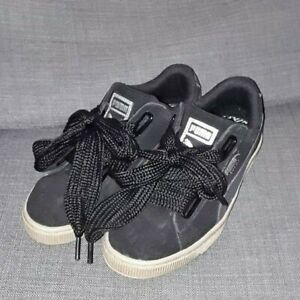 the latest 0525e 4b9aa Details about Puma Suede Heart Safari Womens Black Suede Synthetic Casual  Trainers size 4 used