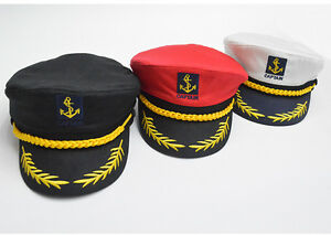 6326b209f273b Unisex Skipper Hat Cap Yacht Sailor Navy Captain Boat Ship Women Men ...