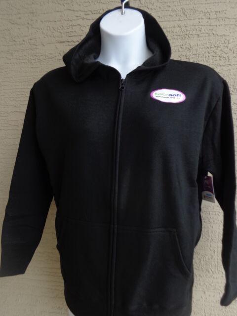 3b949c23da1 Womens Just My Size Eco Smart Zip Front Hooded Sweatshirt Black 1 X ...