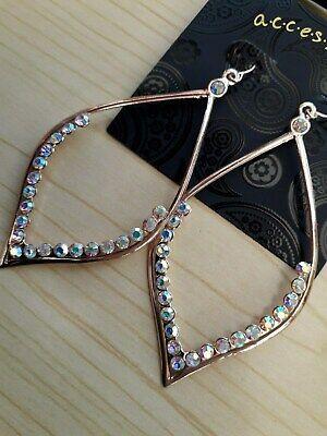 18k Rose Gold GP Sparkling Dangling Snowflake Crystal Hoop Earrings