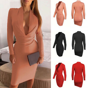 Women-039-s-Solid-Sexy-Long-Sleeve-Dress-Slim-Fit-Deep-V-Neck-Bodycon-Pencil-Dresses