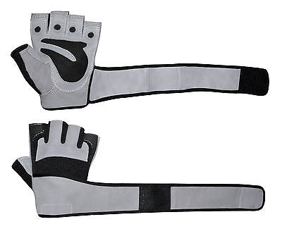 FITNESS WEIGHT LIFTING GLOVES PADDED BODY BUILDING GYM LONG WRIST STRAP TRAINING