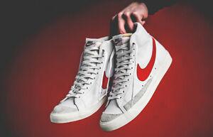 Nike-Blazer-Mid-77-Vintage-Da-Uomo-Bianco-Rosso-Scarpa-Basket-Trainer-Sneaker-6-12