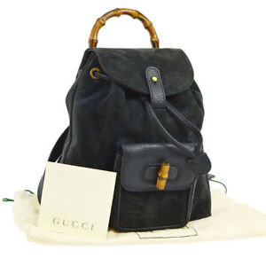 89ceec1b72a0 Authentic GUCCI Bamboo Backpack Hand Bag Navy Suede Leather Italy ...