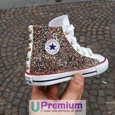 Converse All Star Bianco Rosa Glitter [Prodotto Personalizzato] Scarpe Borchiate | eBay