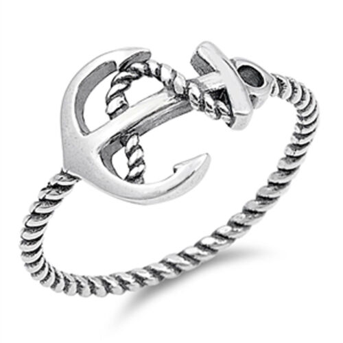 Women/'s Oxidized Anchor Rope Ring New .925 Sterling Silver Bali Band Sizes 4-10