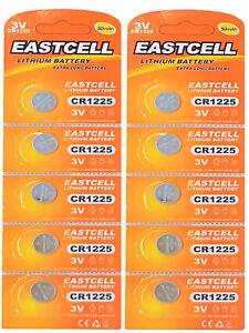 10-x-CR1225-3V-Lithium-Knopfzelle-50-mAh-2-Blistercard-a-5-Batterien-EASTCELL