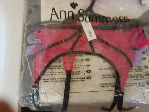 Ann Summers Yasmin Pink Lilac Black Suspender Belt Small 8-10 New In Packet