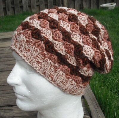 Funky Brown/Beige Shades Large Knitted/Crocheted Beanie - Handmade by Michaela