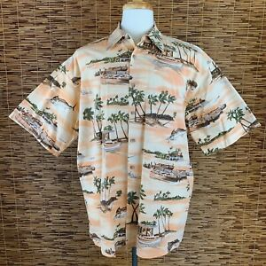 Campia Moda Men's Hawaiian Shirt Peach Palm Trees Beaches Boats 100% Cotton XL