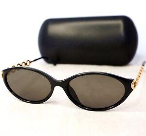 Christian-Dior-2852-sunglasses-vintage-black-grey-gold-chain-arm-CD-oval-women