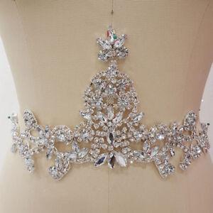 Luxury-Rhinestone-Wedding-Costume-Applique-Diamante-Bling-Evening-Dress-Motif