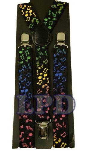 Black Suspenders Music Notes Braces  Adjustable Fashion Suspenders Motif Design