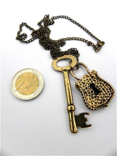 collier pendentif clé cadenas couleur bronze vielle or cadeau offrir