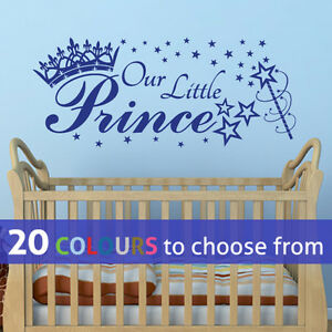 Details About Our Little Prince Stars Crown Wall Sticker Art Decal Baby Boy Nursery Bedroom