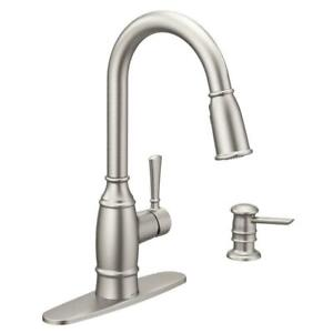 Moen Noell 87791SRS Stainless Kitchen Faucet w/Reflex & Soap Dispenser