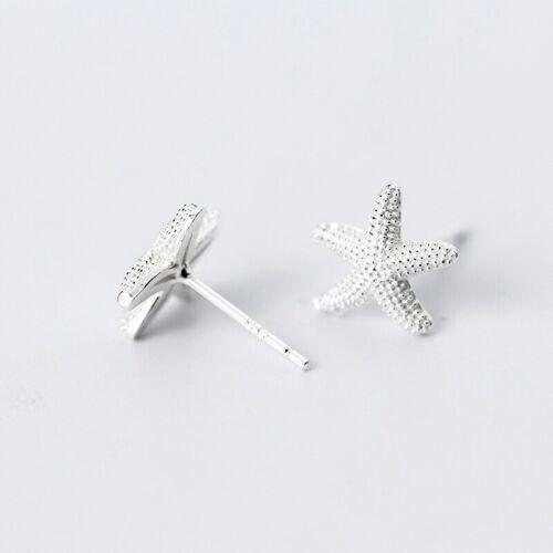 Damen Ohrringe Ohrstecker 925 Silber Diamantiert Seestern Meer Strand