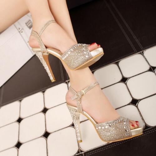 Womens Rhinestones Party Wedding Sandals Peep Toe High Heels Shoes Glitter Pumps