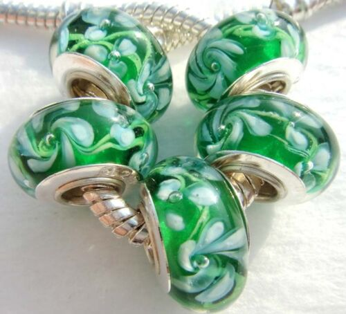 AA074 5PCS silver hallmarked Single Core Murano Glass Beads for Charms Bracelet