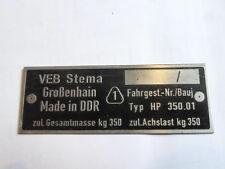 Typenschild Schild DDR Anhänger VEB STema S27