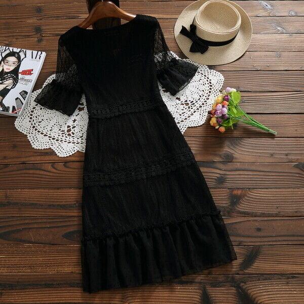 Elegante vestito abito maxi amplio nero romantico romantico romantico scampanato morbido 4981 531af2