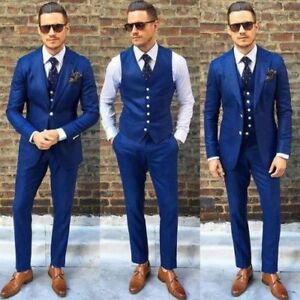 3 PCS Men Royal Blue Suit Slim Fit Groom Tuxedos Formal Bridegroom ...